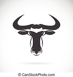 Vector image of an wildebeest head design on white...