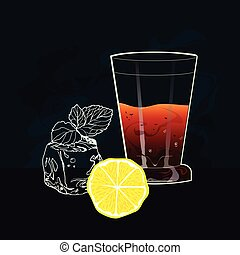 beverage in a clear glass