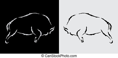 Vector image of bison
