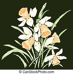 Vector image of bouquet spring narcissuses sketches