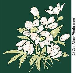 Vector image of bouquet spring snowdrops sketch