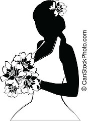 bride silhouette - Vector image of bride silhouette on white