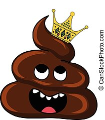 Vector image of brown Shit with crown. Cartoon and...