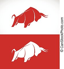 Vector image of bull design on white background and red...