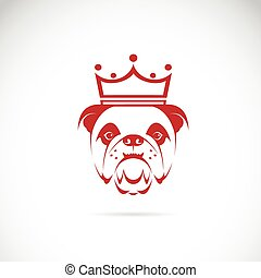 Vector image of bulldog head wearing a crown on white ...