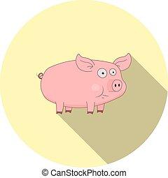 Vector image of cartoon pig