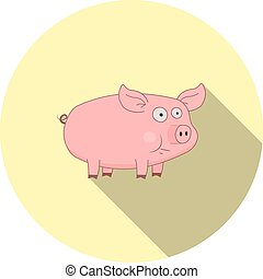 Vector image of cartoon pig