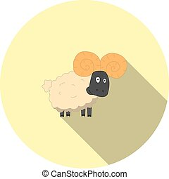 Vector image of cartoon sheep