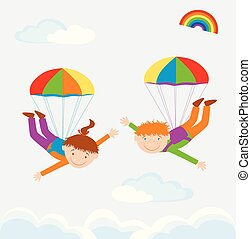 Vector image of cheerful parachutists flying in sky