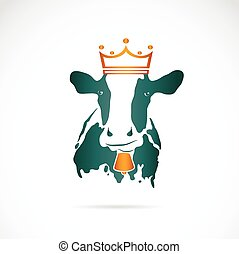 Vector image of cow wearing a crown on white background
