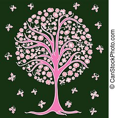Vector image of decorative pink tree flowering in springtime