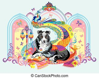 Vector image of dog, the symbol of New year 2018