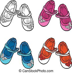Vector image of fancy shoes for little girls