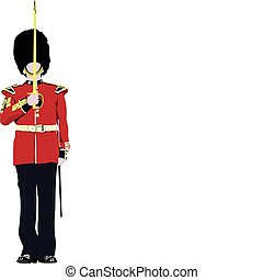 Vector image of five beefeaters. England guards.