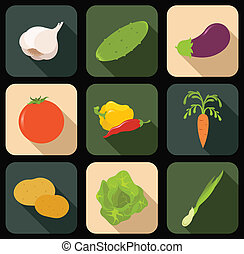 Flat icons of vegetqables