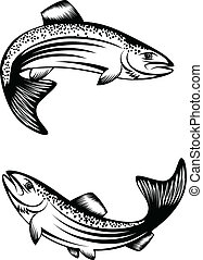 Vector image of floating fish trout
