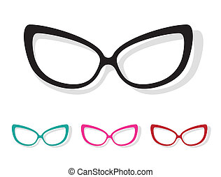 Vector image of Glasses white