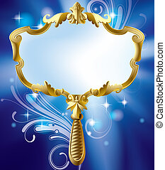 vector image of gold Magic mirror on the luminous blue starry background with decorative elements (contain the Clipping Path)