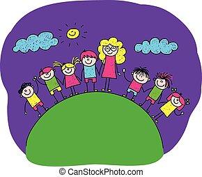Vector image of happy children with teacher