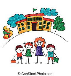 Vector image of happy children with teacher.