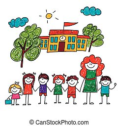 Vector image of happy children with teacher