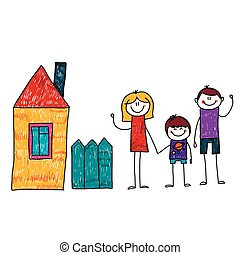 Vector image of happy family with house.