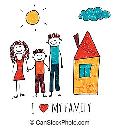 Vector image of happy family with house