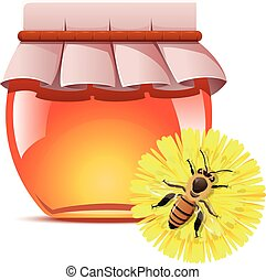 Honey and a bee on the flower