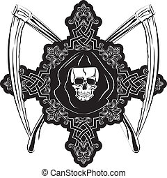 Vector image of human skull in cross and plaits