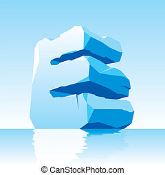 ice letter E - vector image of ice letter E