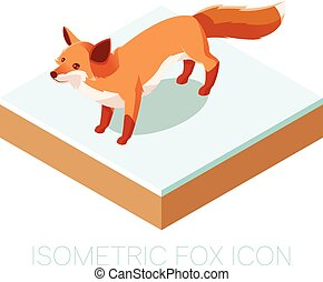 Isometric fox icon on a square ground