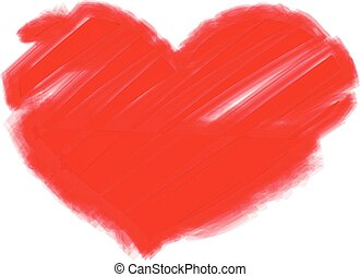 Vector image of large red painted heart