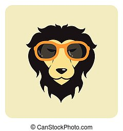 Vector image of lion wearing glasses. Fashion