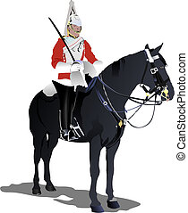 London guard on a horse isolated on white