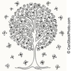 Vector image of outlines blossoming tree with butterflies