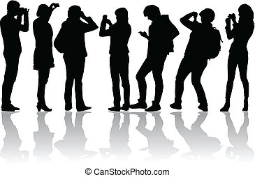Vector image of people photographers