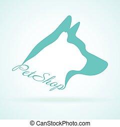 Vector Image Of Pets Design On Background. Petshop, Dog, Cat. Animal Logo Vector Illustration. Logo of Petcare. Vector Logotype Illustration. Creative Concept