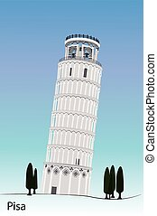 Vector image of Pisa tower isolated with white