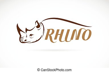 Vector image of rhino head and text on white background