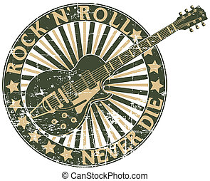 Rock n Roll never die stamp