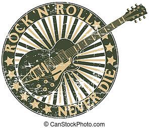 vector image of Rock n Roll never die stamp