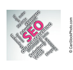Digitally generated image of online marketing concept.