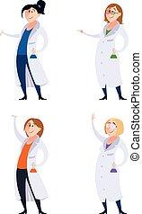 Set of scientist women