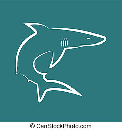 Vector image of sharks on blue background