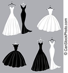 Vector image of silhouettes black and white evening female dresses