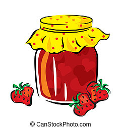 vector image of strawberry jam in the glass jar