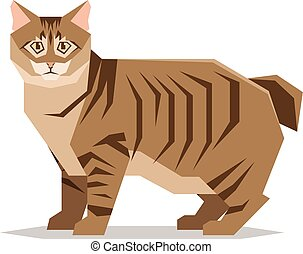 American Bobtail Cat Breed on white background - Vector...