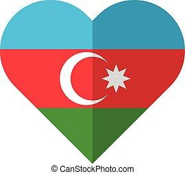 Azerbaijan flat heart flag