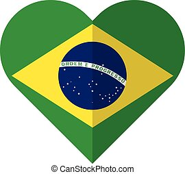 Brazil flat heart flag