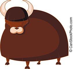 Cartoon brown Yak